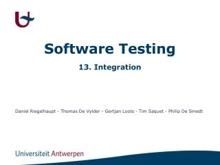 Software Testing 13. Integration