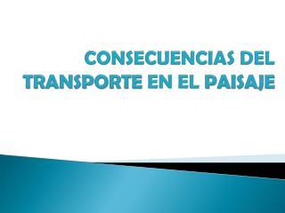 CONSECUENCIAS  DEL TRANSPORTE  EN EL  PAISAJE