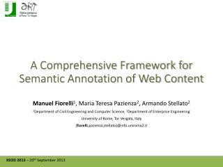 A Comprehensive Framework for Semantic Annotation of Web Content