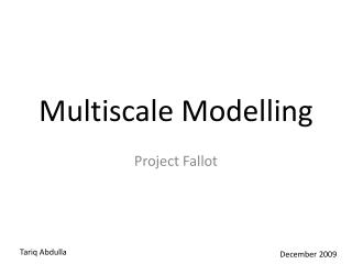 Multiscale Modelling
