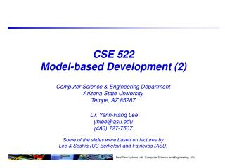 CSE 522 Model-based Development (2)