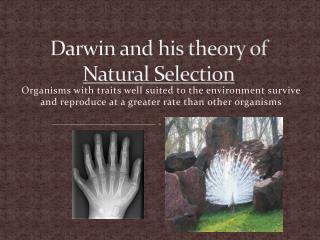 Darwin and his theory of  Natural Selection