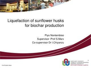 Liquefaction of sunflower husks for biochar production