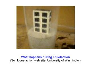What happens during liquefaction  (Soil Liquefaction web site, University of Washington)