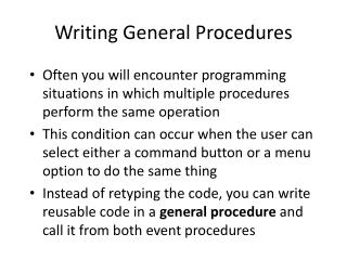 Writing General Procedures