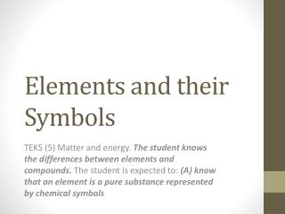 Elements and their Symbols
