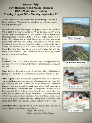 Summer Trip! New Hampshire and Maine- hiking & REAL White Water Rafting