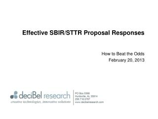 Effective SBIR/STTR Proposal Responses