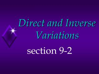 Direct and Inverse Variations