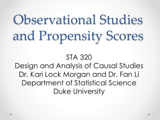 Observational Studies and Propensity Scores