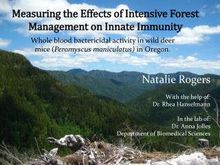Measuring the Effects of Intensive Forest Management on Innate Immunity