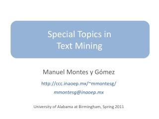 Special Topics  in Text Mining