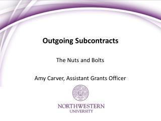 Outgoing Subcontracts