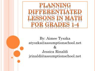 Planning differentiated lessons in math for grades 1-4