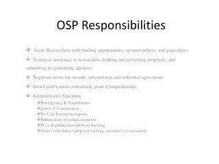OSP Responsibilities