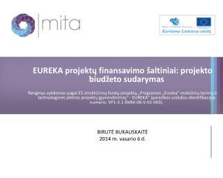 EUREKA projektų finansavimo šaltiniai: projekto biudžeto  sudarymas