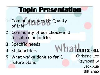 Topic Presentation