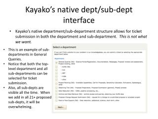 Kayako's  native  dept /sub- dept  interface
