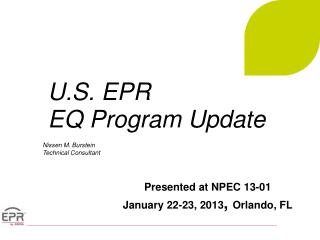 U.S. EPR  EQ Program  Update