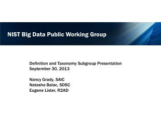 NIST Big Data Public Working Group