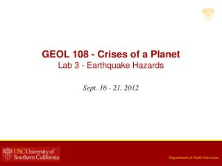 GEOL 108 - Crises of a Planet Lab 3 -  Earthquake Hazards