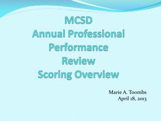 MCSD Annual Professional Performance Review Scoring Overview