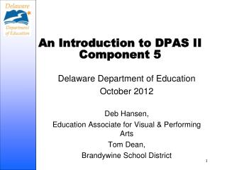 An Introduction to DPAS II Component 5