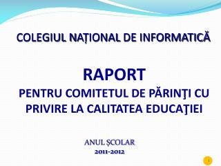 COLEGIUL N AȚ IONAL  DE INFORMATICĂ