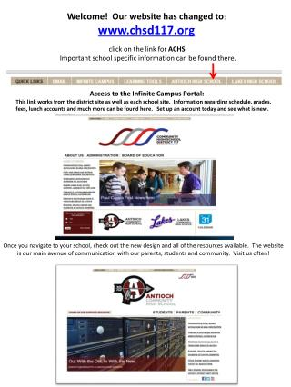 Welcome!  Our website has  changed to : www.chsd117.org