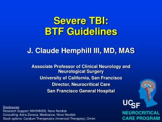 Severe TBI: BTF Guidelines