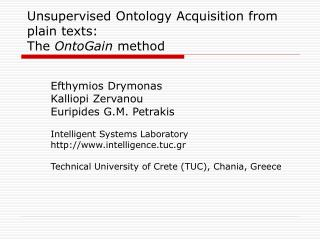 Unsupervised Ontology Acquisition from plain texts :  The  OntoGain  method