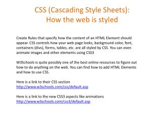 CSS (Cascading Style Sheets): How the web is styled