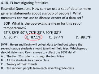 4-18-13 Investigating Statistics