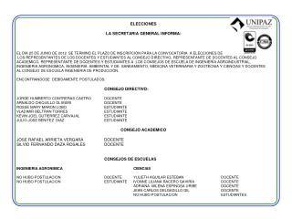 ELECCIONES LA  SECRETARIA GENERAL INFORMA :