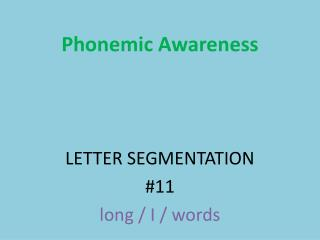 Phonemic  Awareness LETTER SEGMENTATION #11 long / I / words