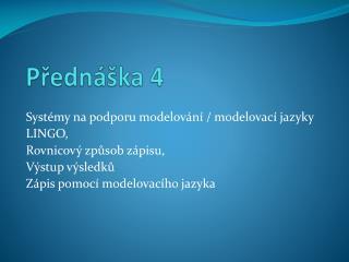 Přednáška  4