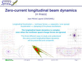 Zero-current longitudinal beam dynamics (in linacs) Jean-Michel  Lagniel  (CEA/GANIL)