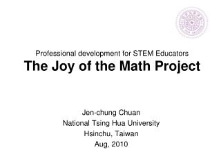 Professional development for STEM Educators  The Joy of the Math Project