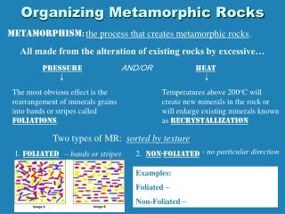 Organizing Metamorphic Rocks