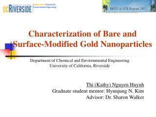 Characterization of Bare and  Surface-Modified Gold Nanoparticles