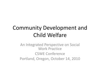 Community Development and Child Welfare
