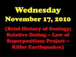Wednesday November 17, 2010