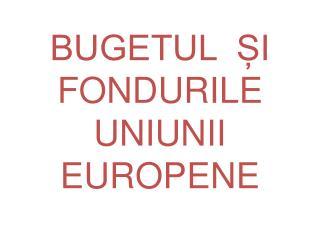 BUGETUL  ?I  FONDURILE  UNIUNII EUROPENE
