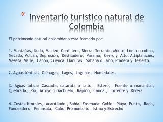 Inventario turístico natural de Colombia