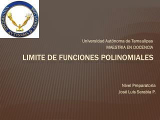 Limite de funciones  polinomiales