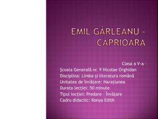 Emil Gârleanu – Căprioara