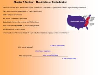 Chapter 7 Section 1  The Articles of Confederation