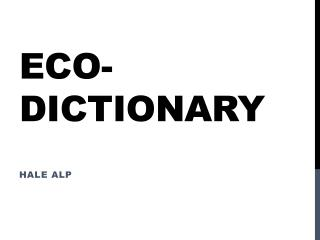 ECO-DICTIONARY