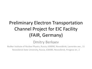 Preliminary Electron Transportation Channel Project for EIC Facility  ( FAIR, Germany)