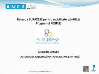 Re ţ eaua EURAXESS pentru mobilitate  ş tiin ţ ific ă   Programul PEOPLE Alexandra VANCEA